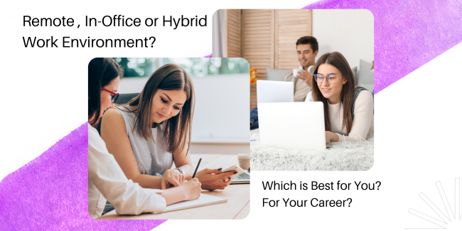 Many employees have the opportunity to work in remote, in-office or hybrid work environments. It is important to understand the difference.